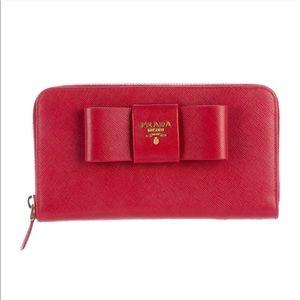 GUC Red Saffiano Prada Fiocco zip around wallet